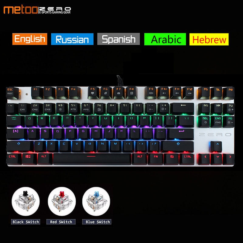Metoo Edition Mechanical Keyboard 87 keys 104 Keys Gaming Keyboards for Tablet Desktop
