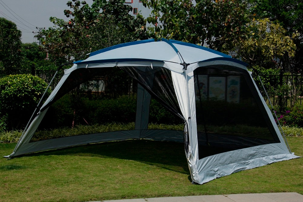 Ultralarge 5-8 Person (365*365*210CM) Party Tent Large Gazebo Sun Shelter With Mosquito Net