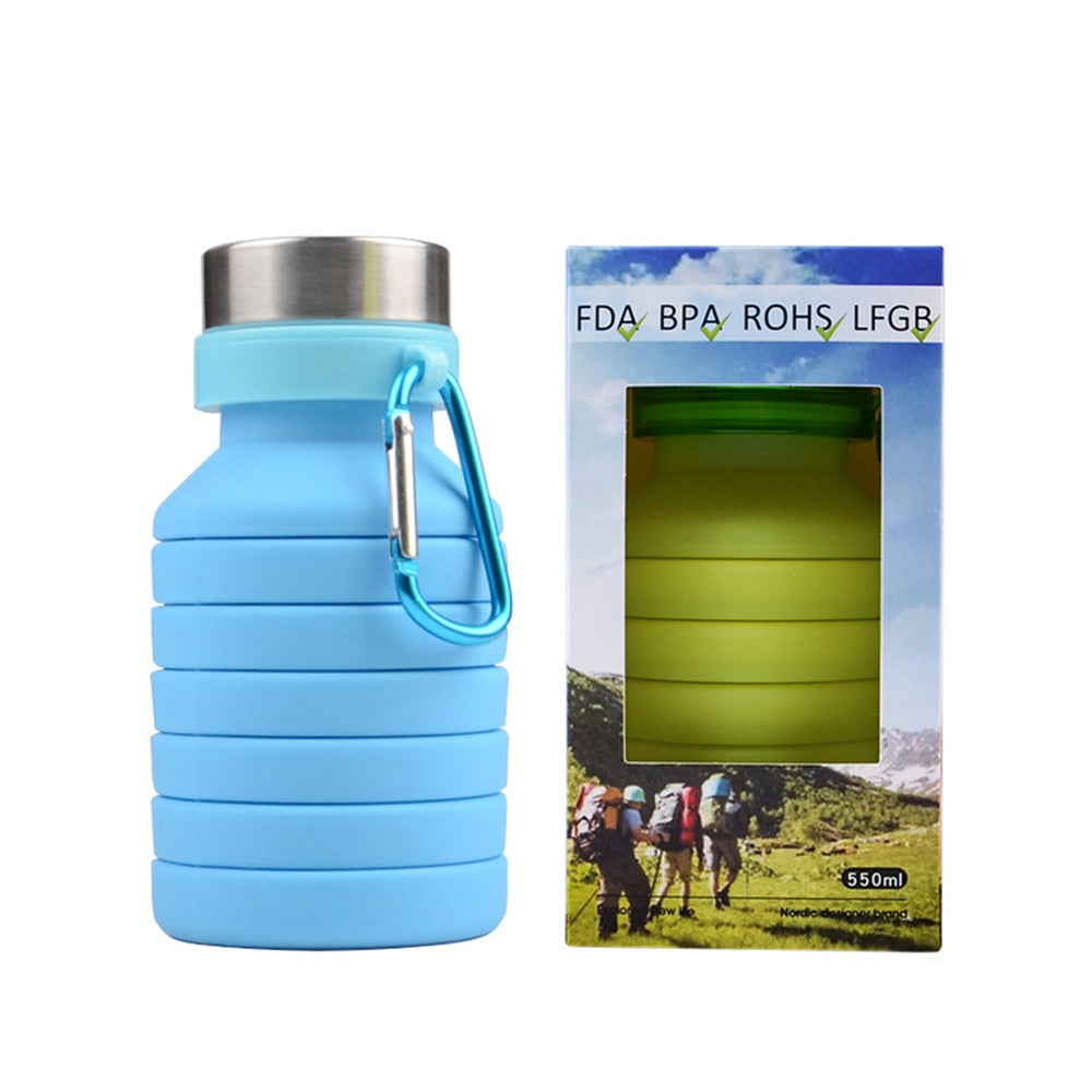 Portable Silicone Collapsible Water Bottle (550ml)