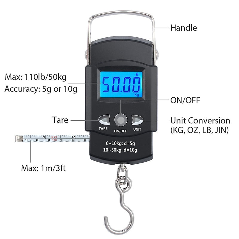 Electronic Luggage Postal Hanging Hook Weighing Scale (50kg/110lbs) with Digital Display & Measuring Tape