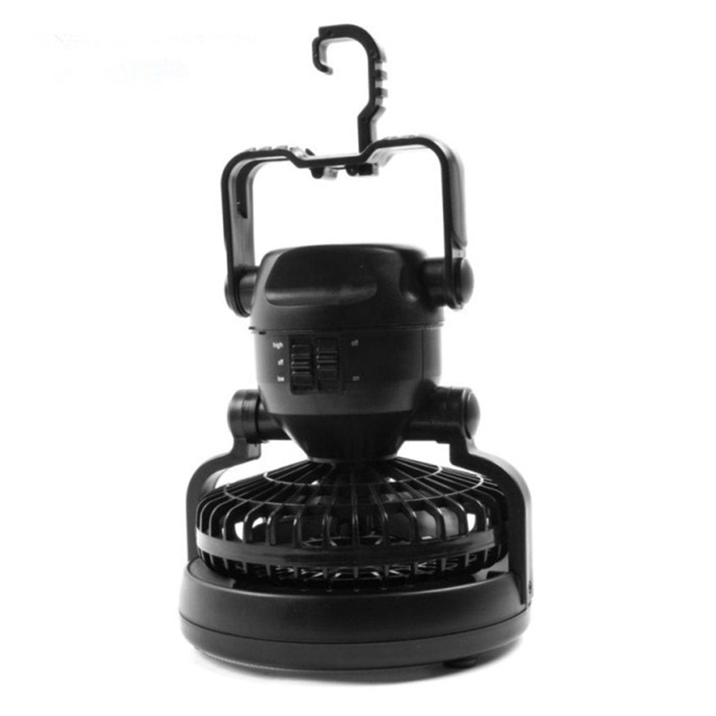 2-In-1 Camping Ceiling Fan Light Hanging Lantern