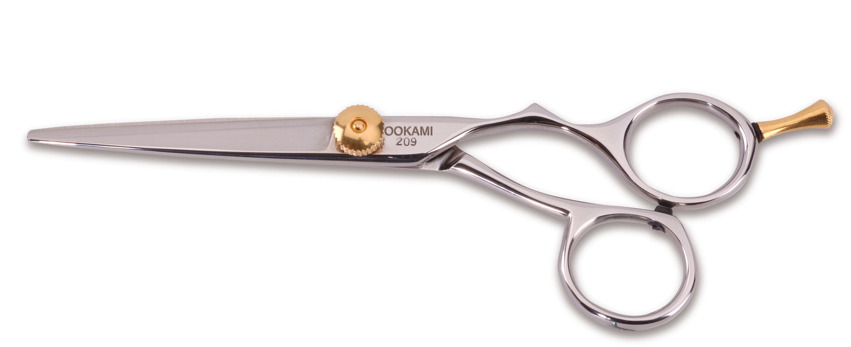 "Ookami Gold® 5"" Offset Inline Easy Grip Handle Beauty Shear with Tension Knob"