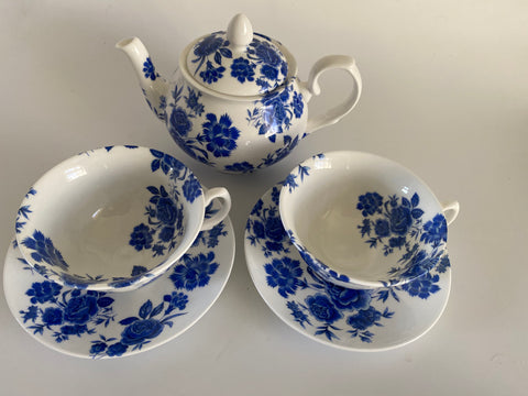 Vintage Style Hand Decorated Bristol Blue Rose Betty Bone China Tea Set 3 piece