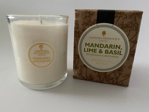 Mandarin, Lime & Basil Aromatherapy Essential Oil Scented Candle 40hrs VEGAN