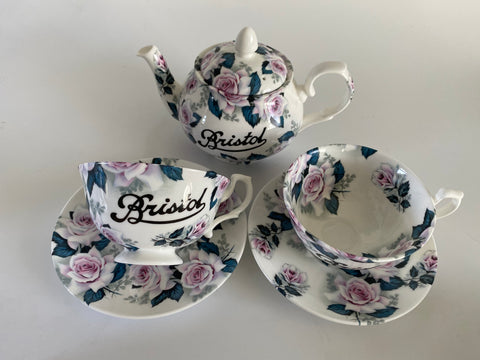 Vintage Style Hand Decorated Rose of Tralee Betty Bone China Tea Set 3 piece