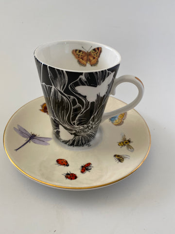 Vintage Style Limited Edition Ephemeroptera English Fine Bone China Cup & Saucer
