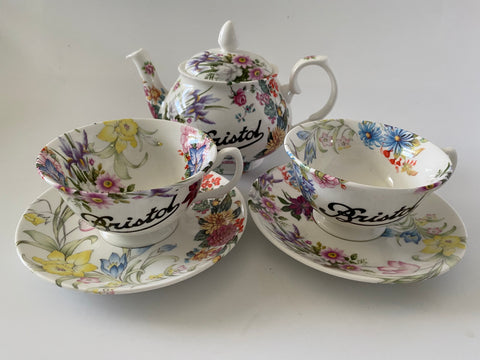 Vintage Style Hand Decorated Random Floral - Bristol Piére - Bone China Tea Pot, Cup & Saucer