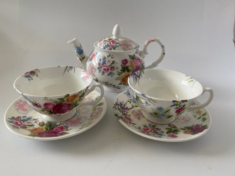 Vintage Style Hand Decorated Random Floral - Adam - Bone China Tea Pot, Cup & Saucer