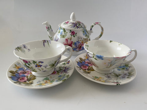 Vintage Style Hand Decorated Random Floral - Anita - Bone China Tea Pot, Cup & Saucer