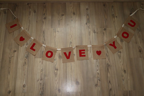 I Love You Bunting Jute Hessian Banner (small)