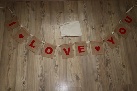 I Love You Bunting Jute Hessian Banner (large)