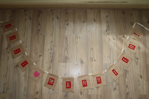Just Married Bunting Jute Hessian Banner