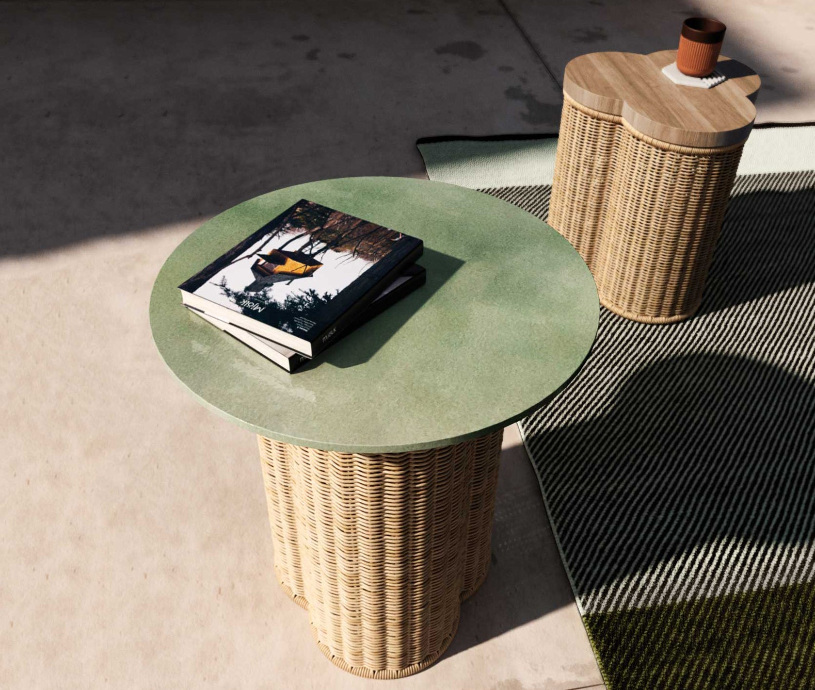 Outdoor Vimini Side Table Trefoil