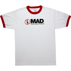 "Deathwish t-shirt  ""M.A.D."" white/red Ringer"