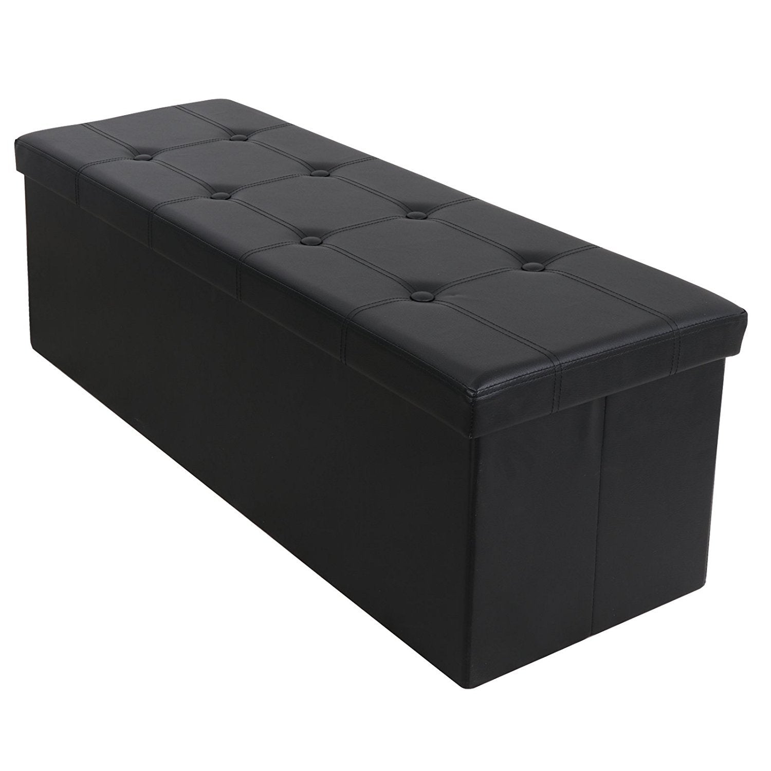 Phenomenal Zeny 43In Long Faux Leather Large Folding Ottoman Storage Bench Foot Rest Stool Seat Black Ncnpc Chair Design For Home Ncnpcorg
