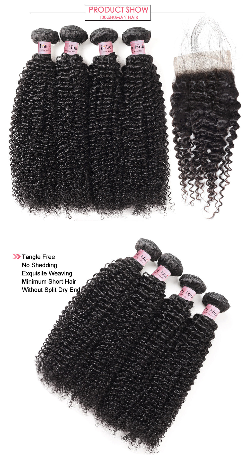 Lolly Malaysian Kinky Curly Hair 4 Bundles with Lace Closure