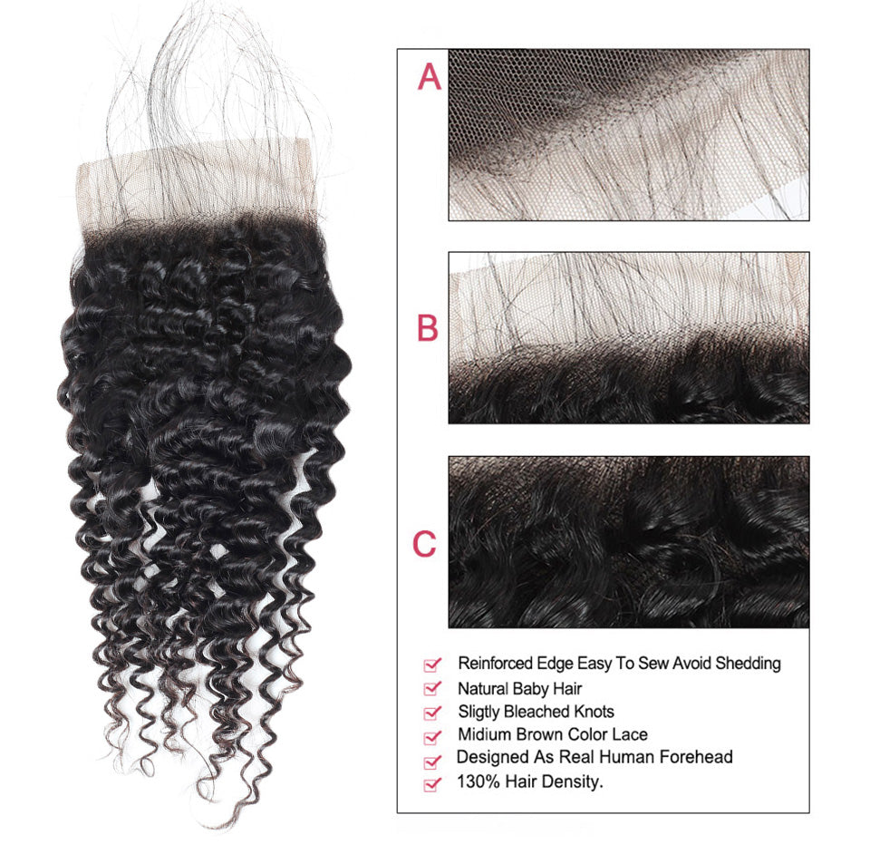 LOLLY 9A Virgin Malaysian Kinky Curly Hair 2 Bundles with Lace Closure