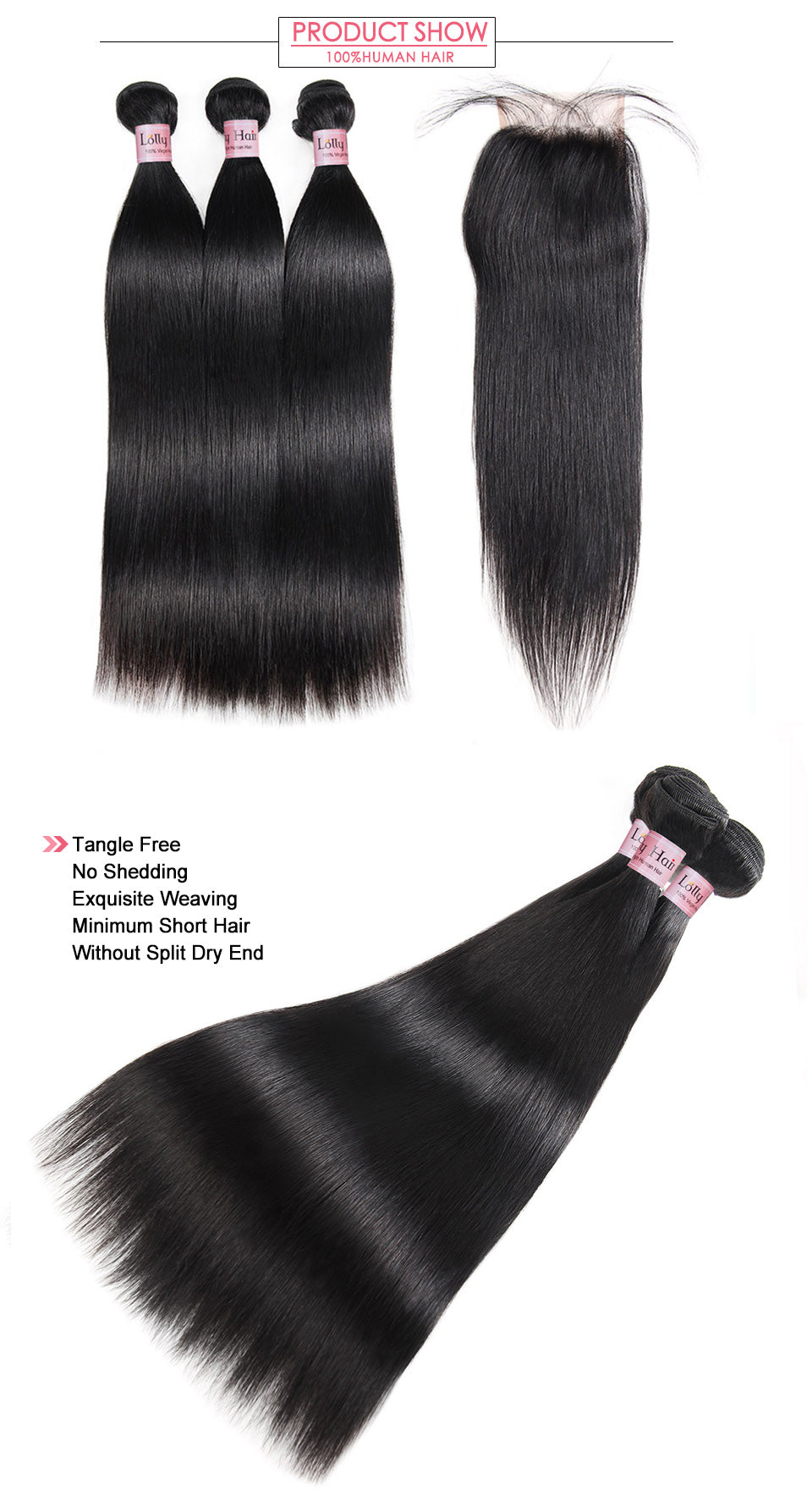 Lolly Virgin Remy Indian Straight Hair 3 Bundles with 4x4 Lace Closure