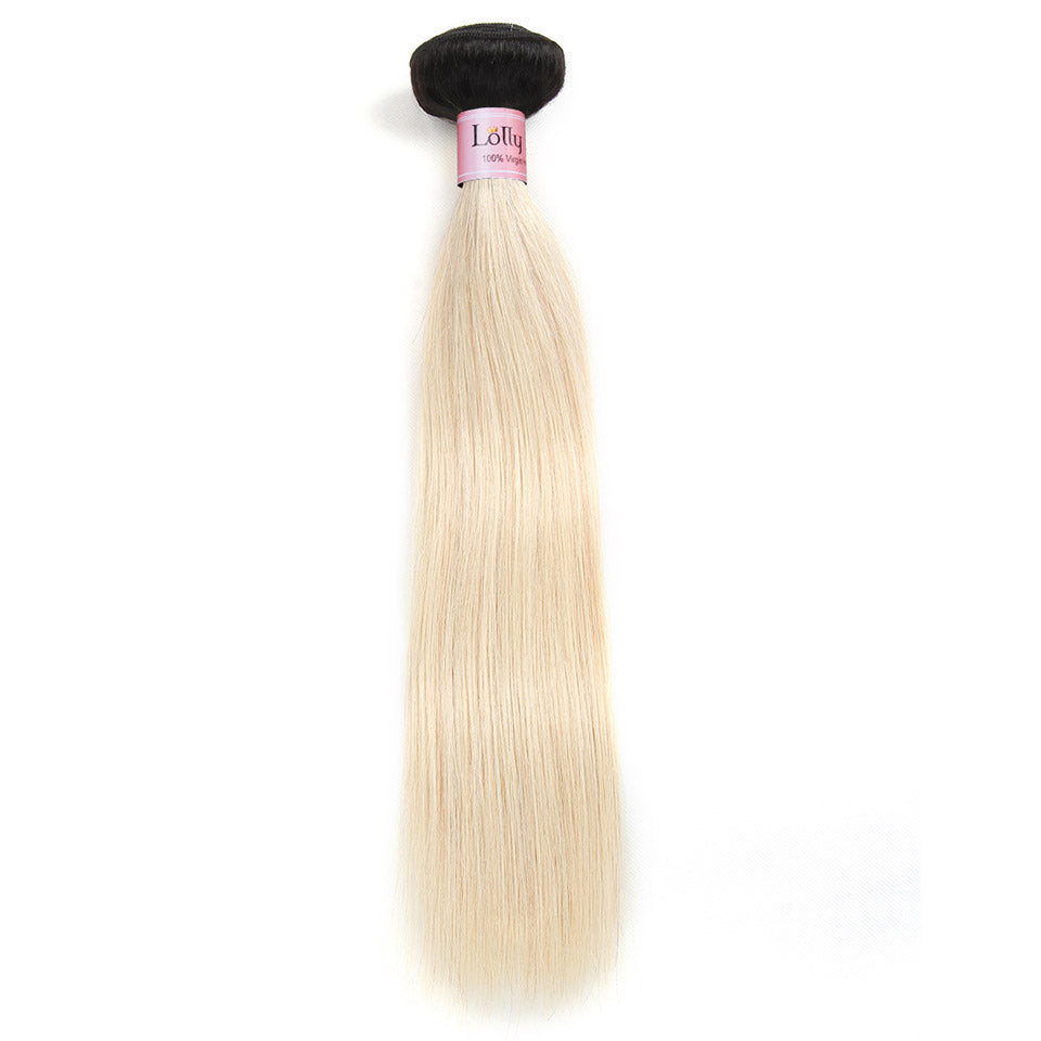 Lolly Hair 1Pc Straight Human Hair Weave Bundles Ombre black to Blonde 613 straight hair