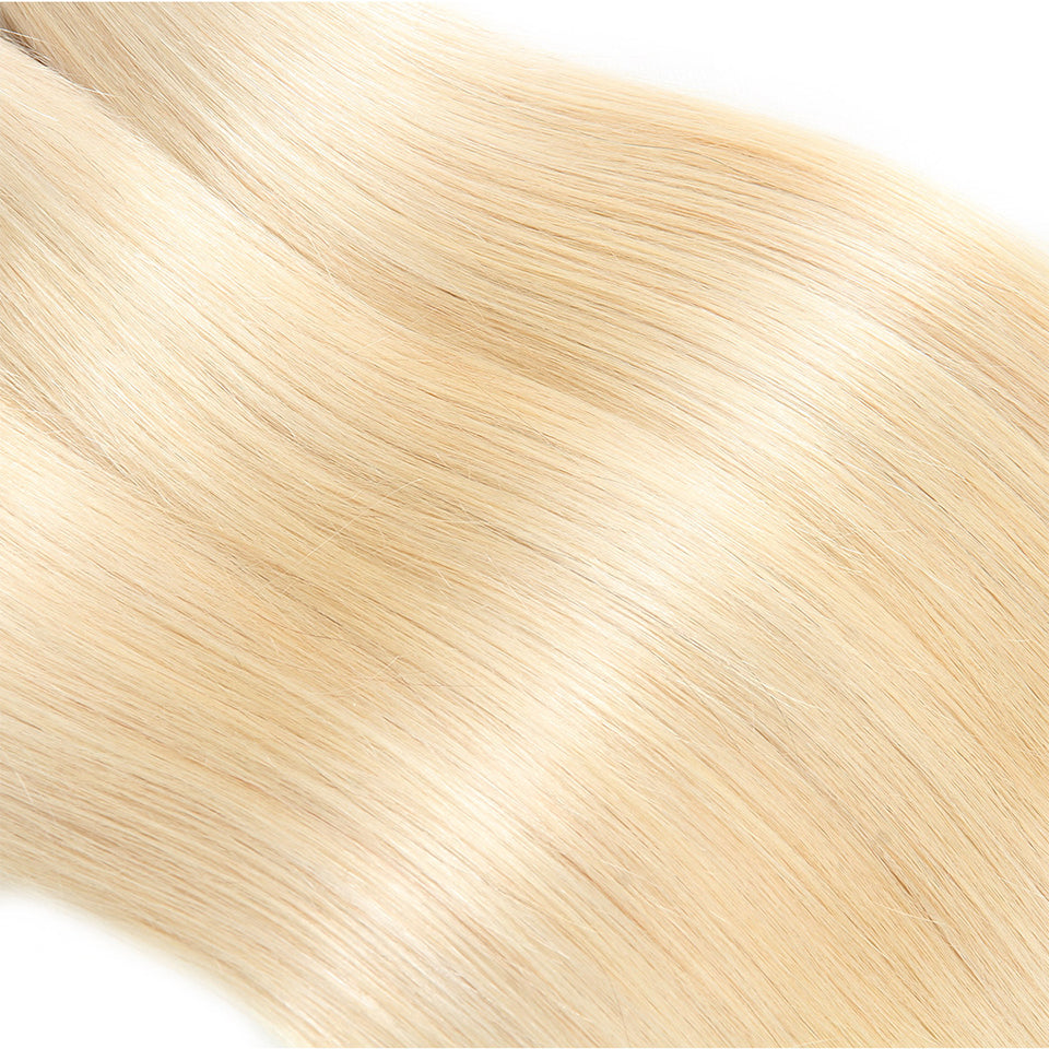 Lolly Hair 9A 1Pc Straight Human Hair Weave Bundles Ombre Blonde 613#