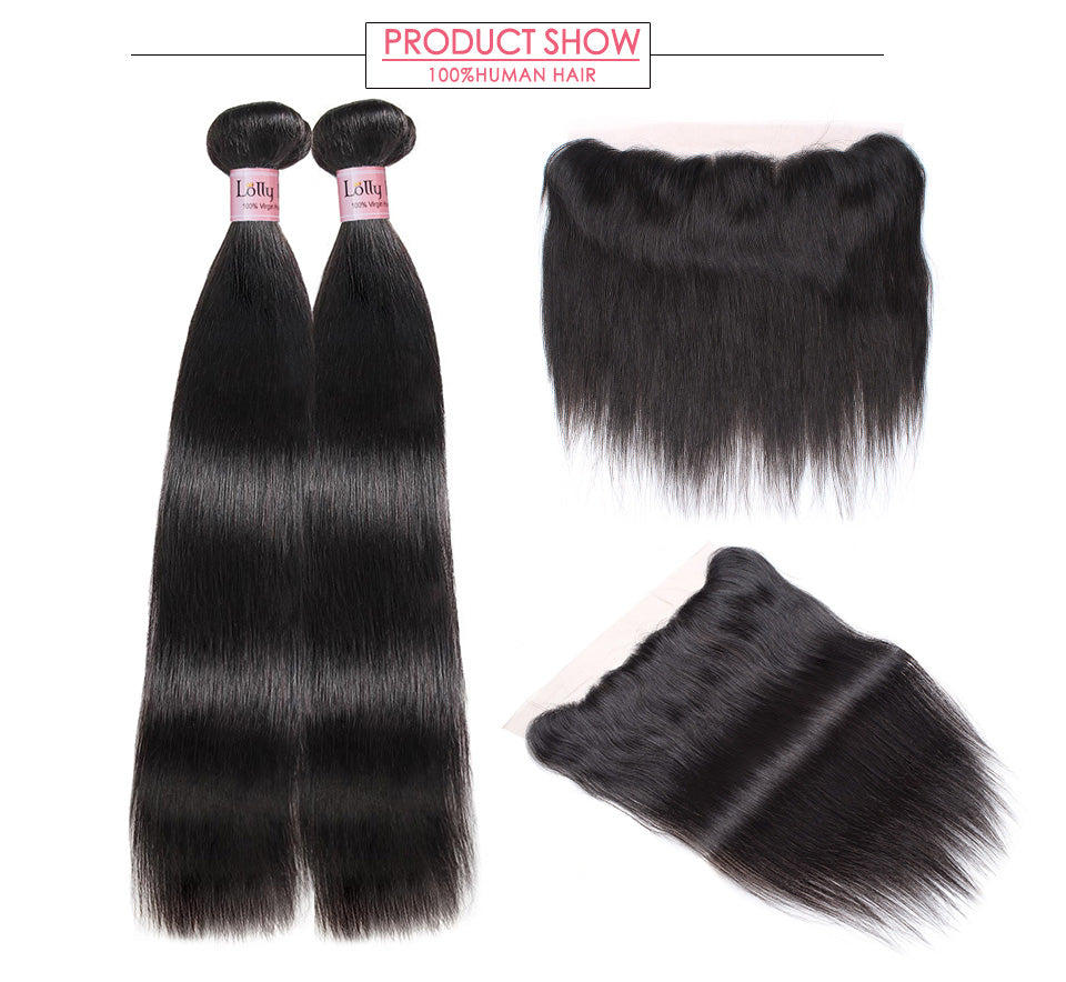 9A Peruvian Straight Virgin Hair 2 Bundles with Lace Frontal LOLLY