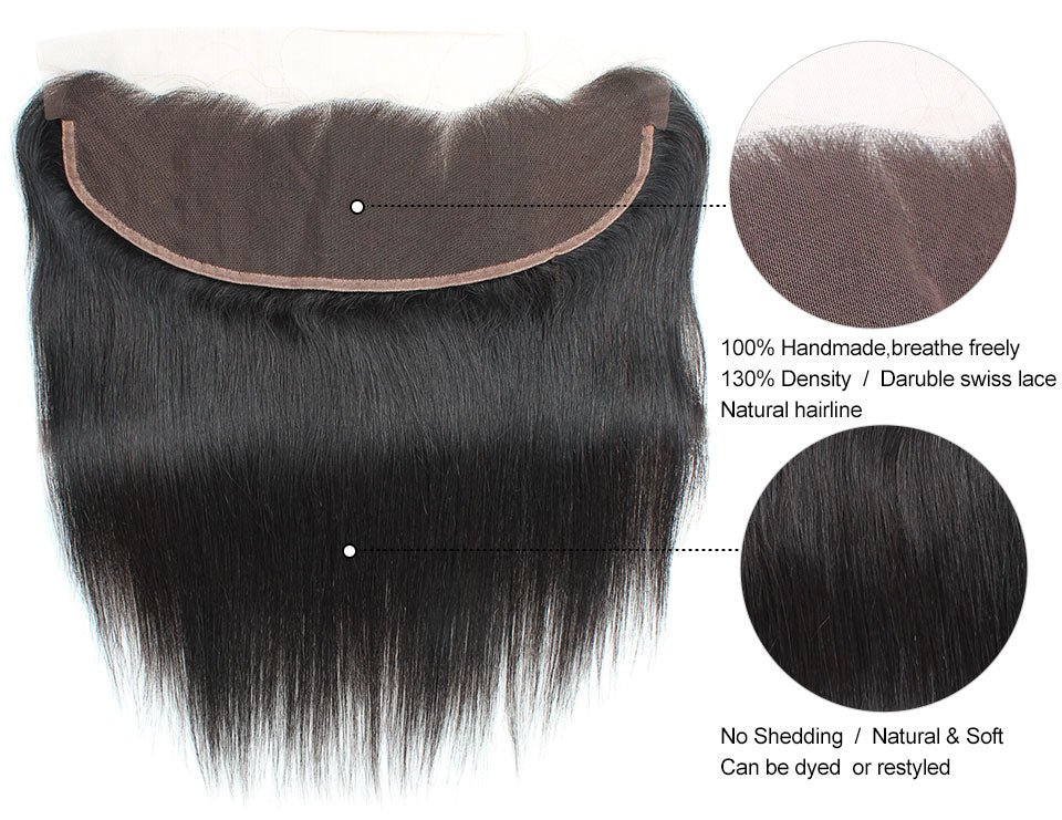 Brazilian Straight Hair 2 Bundles with 13x4 Lace Closure Lolly Hair