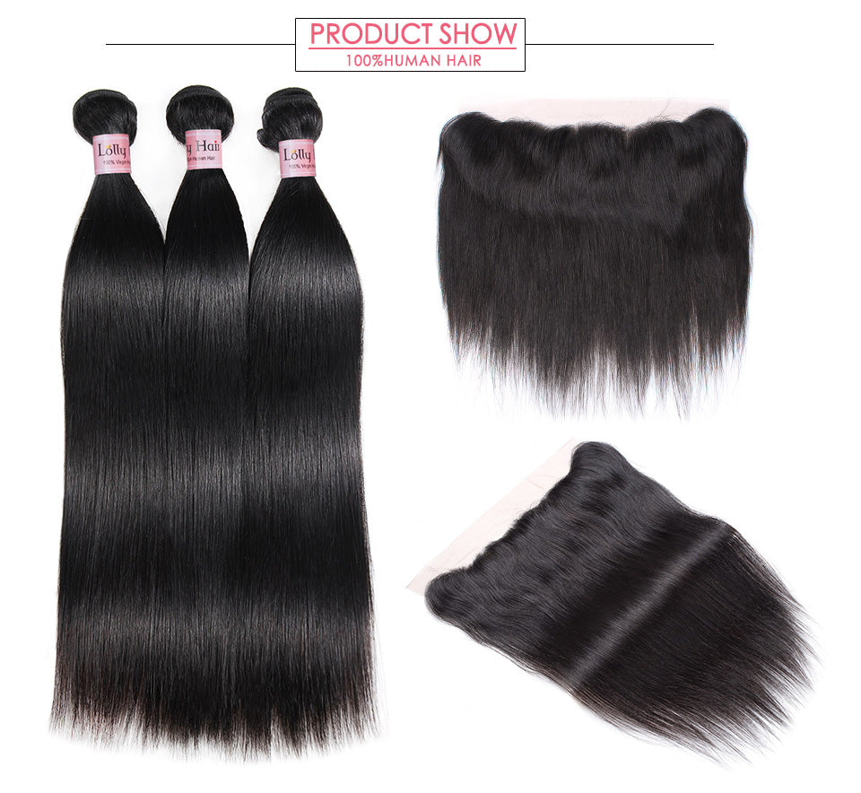 Lolly Malaysian Straight Human Hair 3 Bundles with Lace Frontal Closure