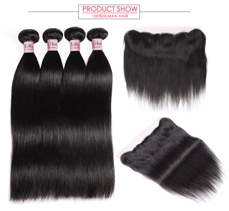 LOLLY Malaysian Straight Hair 4Bundles With 13X4 Lace Frontal Closure
