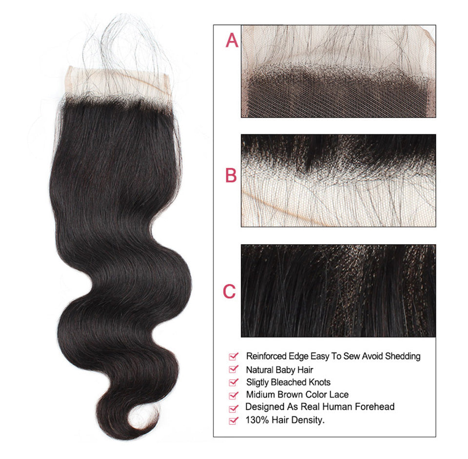 Lolly virgin Human Hair weaves Body Wave 2 Bundles With Lace Closure good quality hair