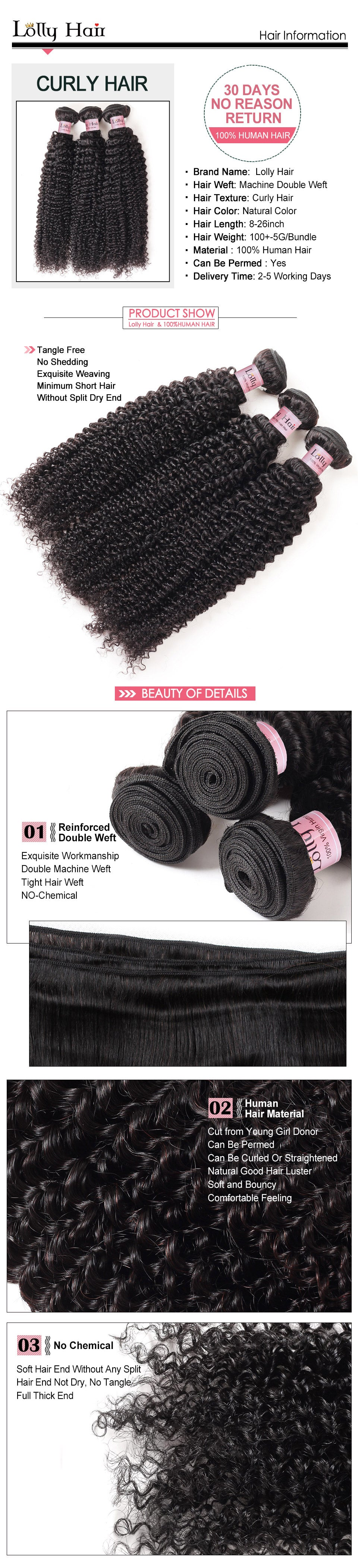 Lolly Brazilian Virgin Curly Human Hair Weft 3 Bundles Deals