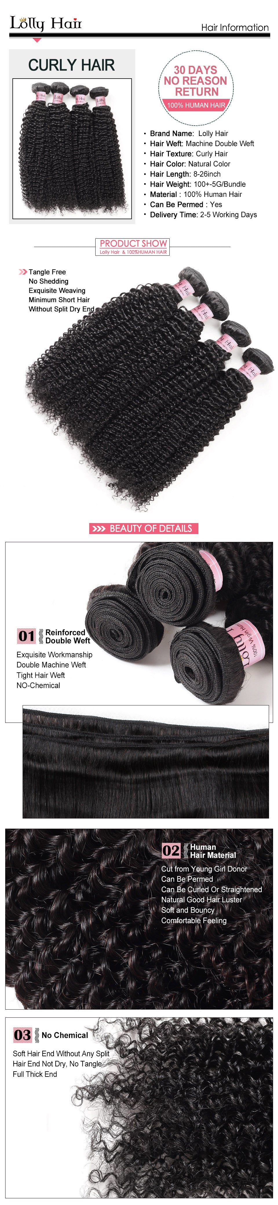 Lolly Curly Virgin Hair 1 Bundle Unprocessed Human Hair Extension