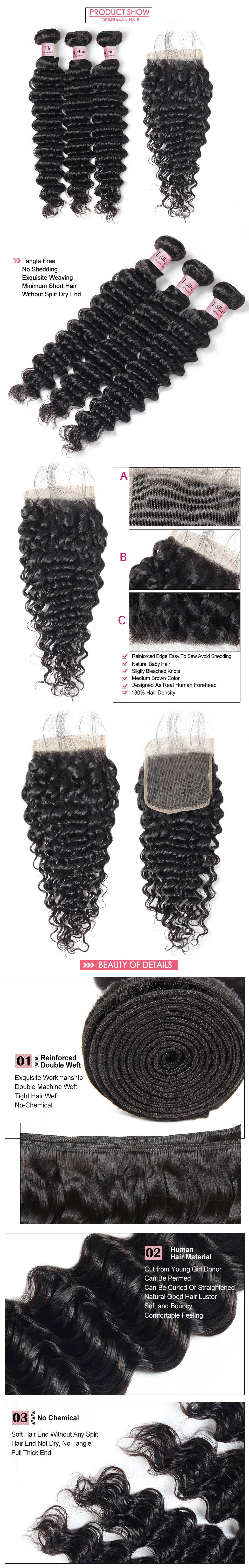 Deep Wave Human Hair 3 Bundles with Lace closure