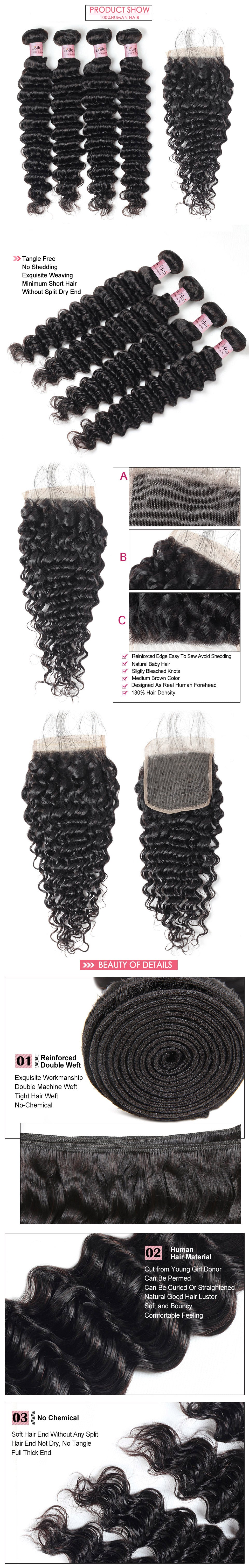 Deep Wave 4 Bundles With Lace Closure