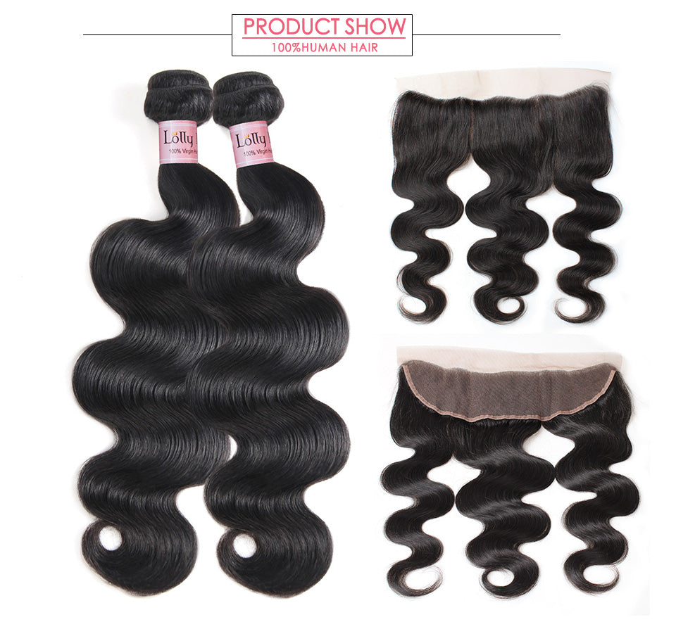 2Pcs Brazilian Virgin Hair Body Wave Weaves with 13x4 Lace Frontal 9A