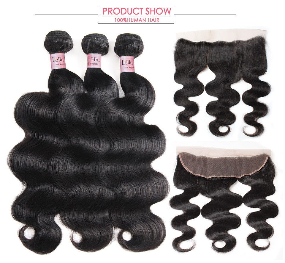 Peruvian Body Wave Virgin Hair 3 Bundles with Ear to Ear Lace Frontal