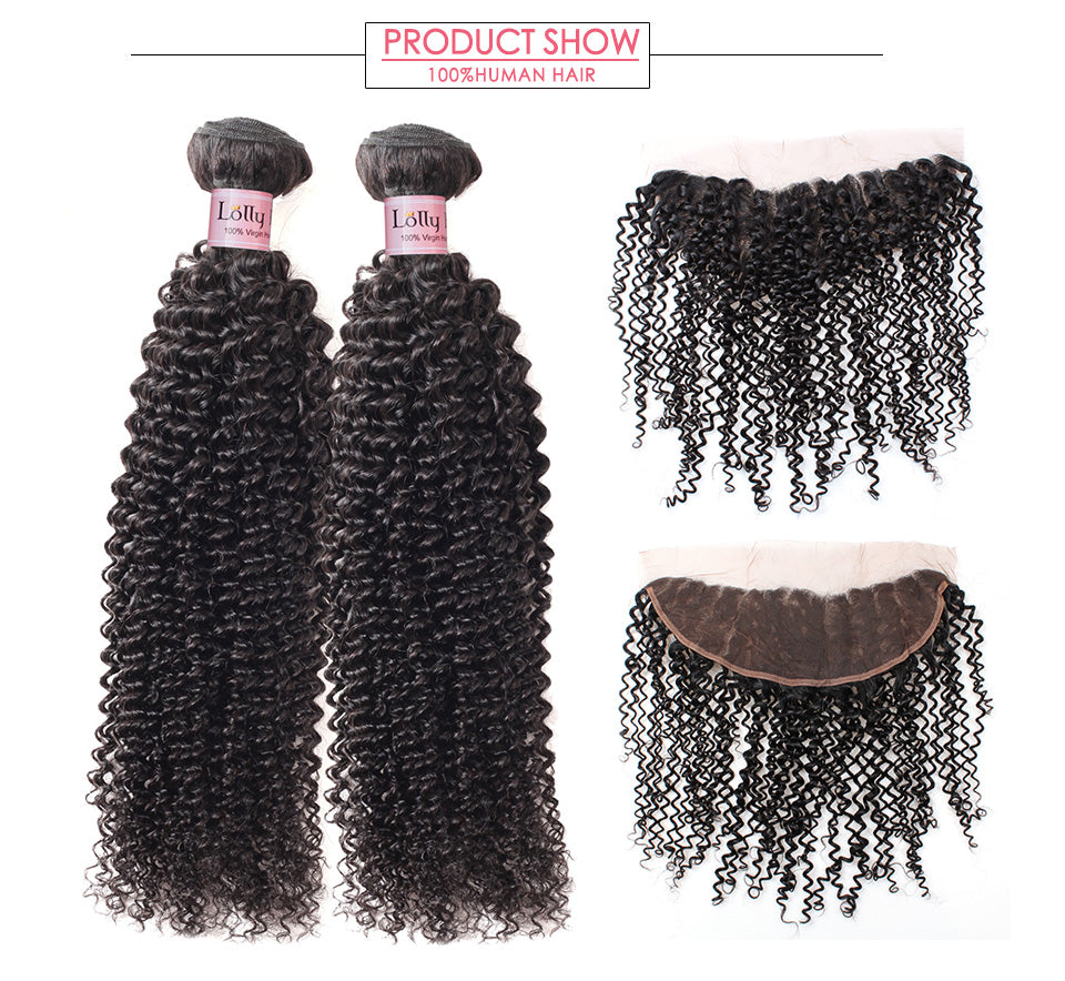 LOLLY 9A Malaysian Curly Human Hair 2 Bundles with 13x4 Lace Frontal