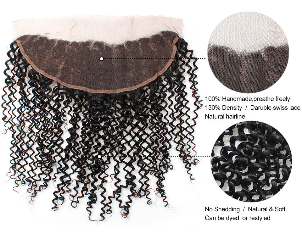 LOLLY Malaysian kinky Curly Human Hair Weaves 4 Bundles with Ear to ear Lace Frontal 13X4
