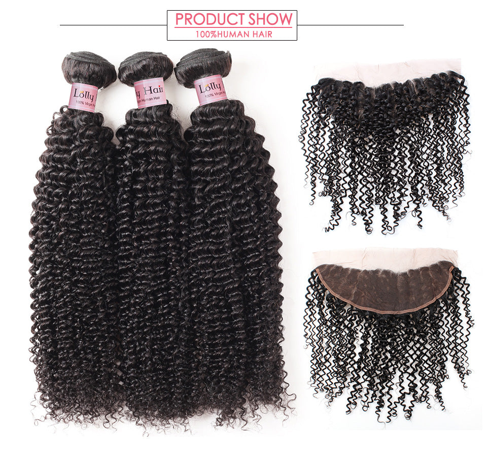lolly Curly Hair 3 Bundles with 13x4 Lace Frontal Closure ear to ear brazilian peruvian malaysian indian afro kinky curly Hair weave bundles (1)