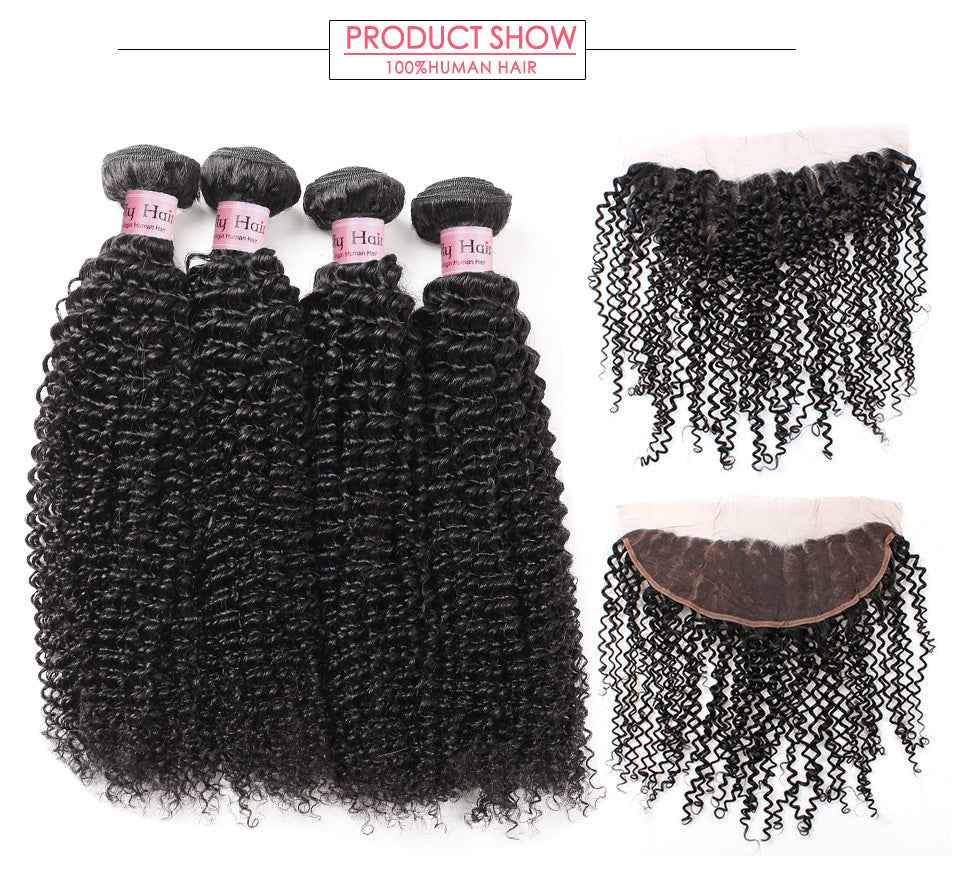 Brazilian Kinky Curly Hair 4 Bundles with Lace Frontal 13x4 Lolly Hair