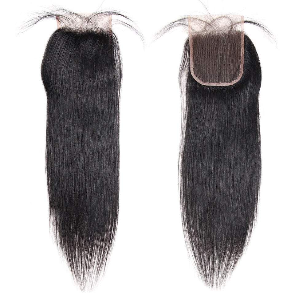 Brazilian Straight Hair 2 Bundles with 4x4 Lace Closure Lolly Hair