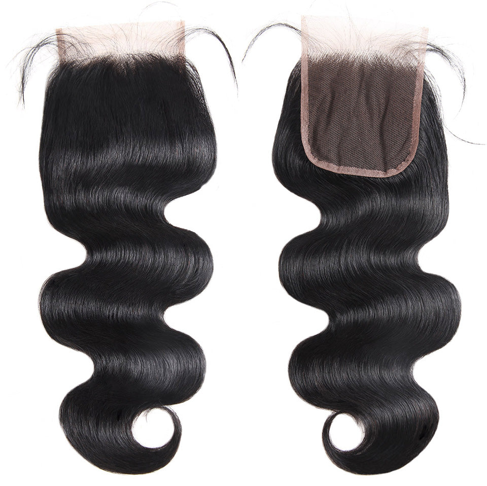 Malaysian Body Wave Virgin Human Hair 3 Bundles with Lace Closure