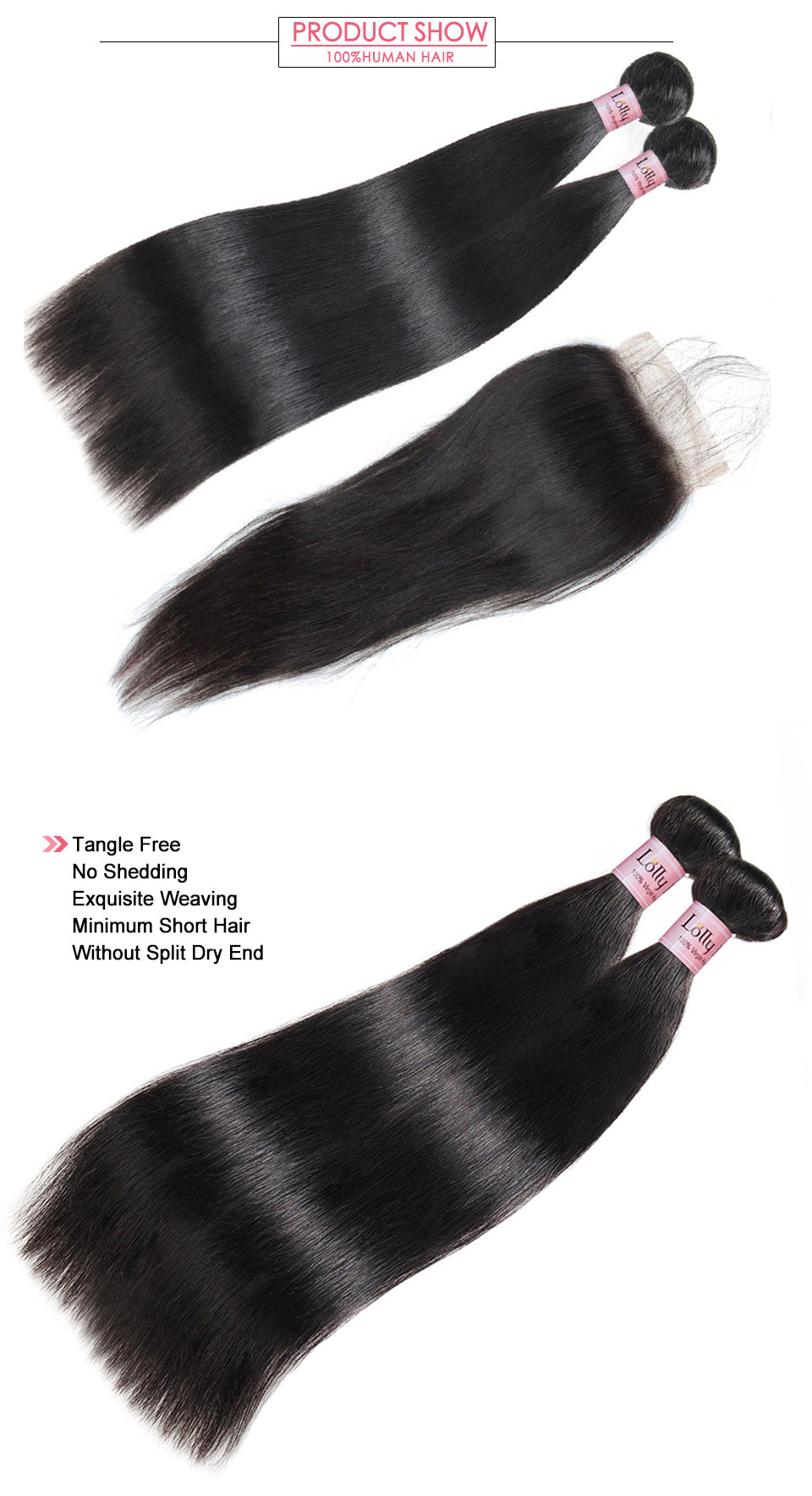 Lolly Virgin Malaysian Straight Hair 2 Bundles with 4x4 Lace Closure