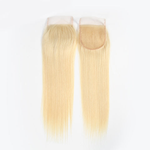 Lolly Hair Brazilian Blonde 613# Straight Virgin Human Hair Lace Closure 4x4 with Baby Hair : LOLLYHAIR
