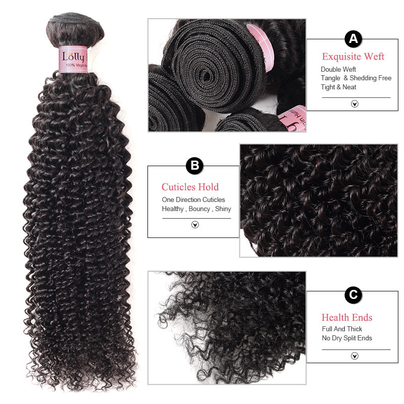 Lolly Hair 4Pcs Indian Kinky Curly Remy Virgin Hair Bundles with Closure Pre Plucked Best Virgin Hair Online Kinky Curly Hair Shipping Worldwide : LOLLYHAIR