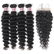 Lolly Hair Malaysian Deep Wave Human Hair Extensions 4 Bundles with 4x4 Lace Closure : LOLLYHAIR