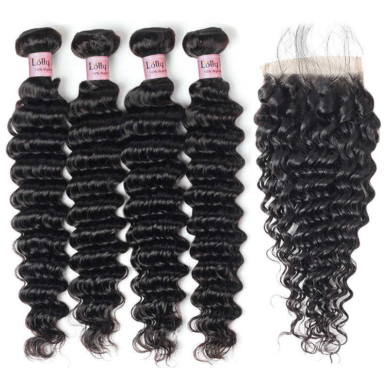 Lolly Hair Deep Wave Virgin Human Indian Hair Extensions 4 Bundles with 4x4 Lace Closure : LOLLYHAIR