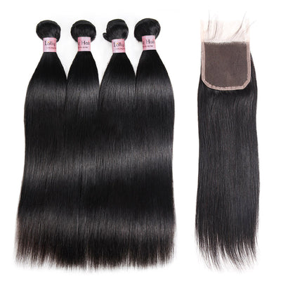 Lolly Hair 100% Unprocessed Human Hair 4 Bundles 9A Indian Silky Straight Virgin Hair 4 Bundles with Lace Closure Raw Indian Straight Hair Extension : LOLLYHAIR