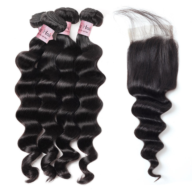 Lolly Hair Loose Deep Wave Bundles With Lace Closure With Baby Hair