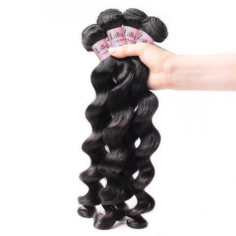 Lolly Hair Virgin 9A Raw Indian Human Hair Loose Deep Wave Weaves 4 Bundles with Lace Closure with Baby Hair : LOLLYHAIR