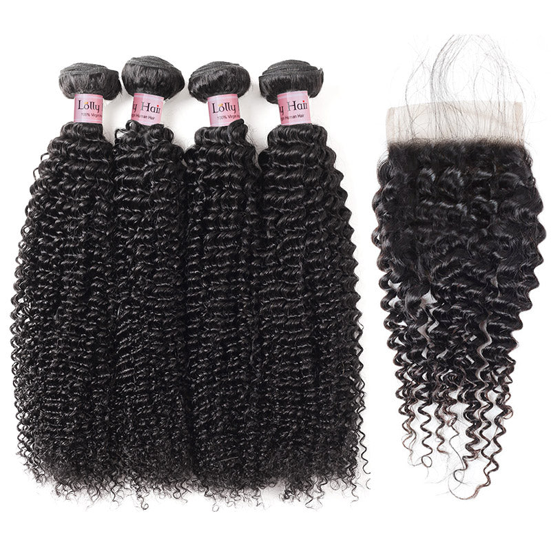 Kinky Curly Hair 4bundles With Lace Closure Lolly Peruvian Virgin